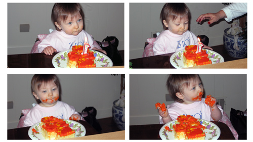 Tess in various stages of eating her birthday cake at her third first birthday party.