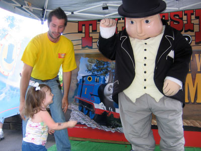 Tess meeting Sir Topham Hatt at the Tweetsie Railroad.